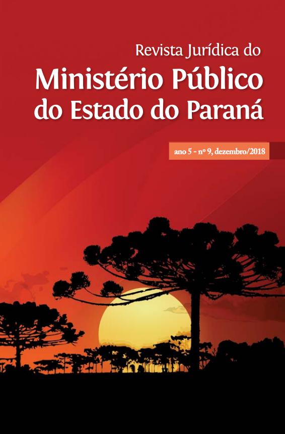 A imagem mostra a capa da Revista Jurídica do Ministério do Estado do Paraná, ano 5, nº 9, dezembro de 2018, composta por araucárias sombreadas e sol poente em fundo vermelho.