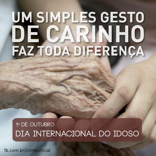 A imagem mostra a mão de uma pessoa idosa segurada por mãos de uma pessoa jovem. Na parte superior, o seguinte texto: